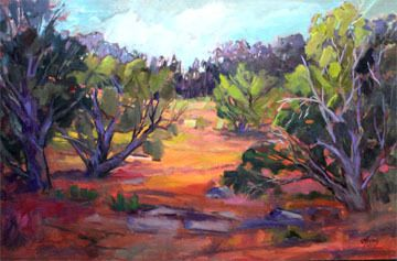 """Cold Shivers Point, Impressionist Landscape, Fine Art Oil Painting """"Ancient Junipers"""" by Colorado Contemporary Fine Artist Jody Ahrens"""