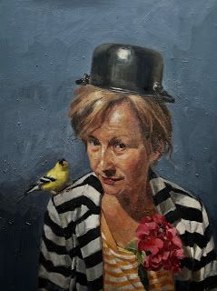 L. with Pot and Bird, 22 x18 in, oil on panel