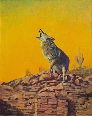 "Original Coyote,Wildlife Painting ""COYOTE ON A KIVA"" by Colorado Artist Nancee Jean Busse, Painter of the American West"