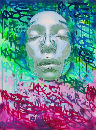 Chrome Faces Protrude from Drippy, Graffiti Backdrops in Hyperrealistic Paintings by Artist Kip Omolade