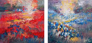 "New Abstract 12"" x 12"" Textured Texas Wildflower Paintings by Niki Gulley"