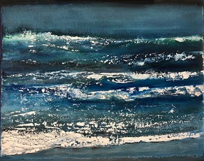"""Abstract Seascape Painting """"Night Surf"""" by California Artist Cecelia Catherine Rappaport"""