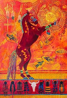 """Native American Folklore Art,Contemporary Western Art ,Equine Painting """"SITTING BULL'S DANCING HORSE"""" by Colorado Landscape Artist Nancee Jean Busse"""