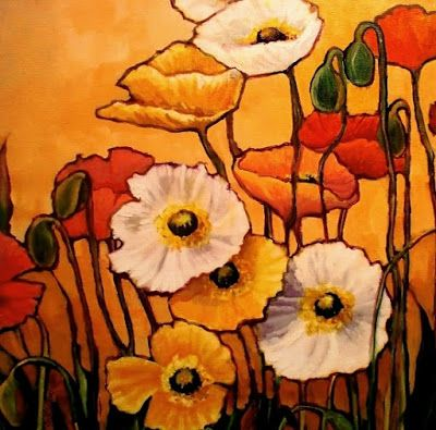 "Flower Art Painting ""12 Poppies"" by Colorado Mixed Media Abstract Artist Carol Nelson"