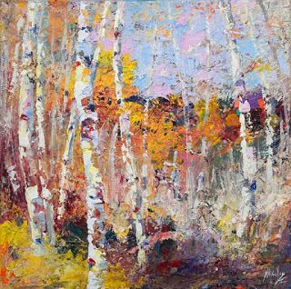 "New ""Blazing a Trail"" Abstracted Autumn Aspen Painting Niki Gulley"