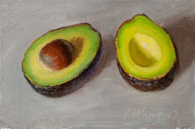 Avocado halves still life painting food daily painting a day