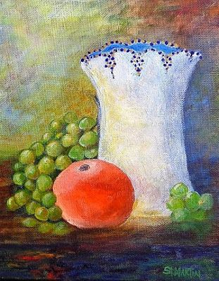 """Still Life Art Painting,Grapes, """"Orange Grapes And More"""" by Florida Impressionism Artist Annie St Martin"""