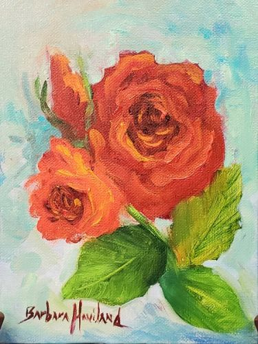 Roses Red, oil painting,Barbara Haviland