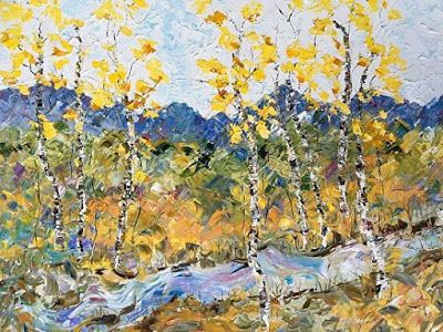 "Palette Knife Aspen , Colorado Landscape Painting ""Autumn River"" by Colorado Impressionist Judith Babcock"