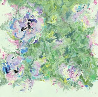 "Contemporary Floral Abstract Fine Art Painting, ""FUSION"" by Contemporary Expressionist Pamela Fowler Lordi"