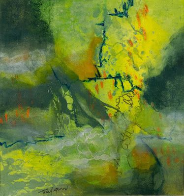 """Green Art, Mixed Media Abstract Painting, Contemporary Art, Expressionism, """"Flaming Gorge"""" by Contemporary Artist Tracy Lupanow"""