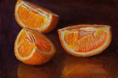 Slices of orange still life fruit painting a day daily painting small work of art original contemporary realism