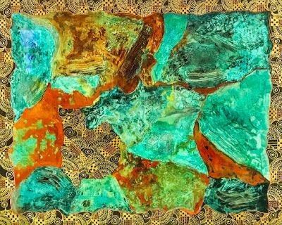 "Contemporary Abstract Mixed Media Painting, Patina ""MAGNIFICENT METALS"" by Arizona Artist Pat Stacy"