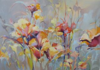 "Contemporary Botanical Floral Painting ""Festival"" by Intuitive Artist Joan Fullerton"