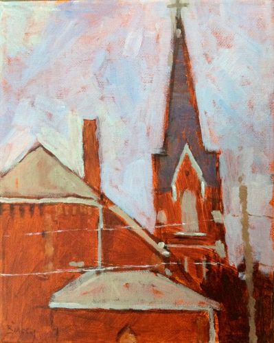 Steeple. 8x10 acrylic on canvas