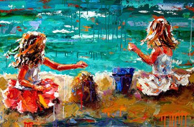 "Children Figure Painting, Little Girls, Beach, Sand,Palette Knife Painting"" Her Blue Bucket"" by Texas Artist Debra Hurd"
