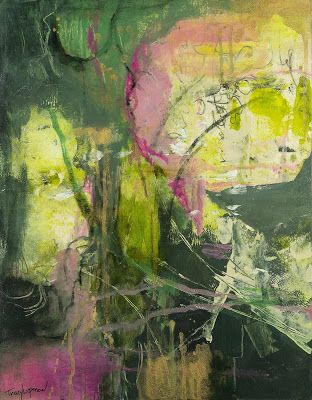 """Mixed Media Landscape, Abstract Painting, Contemporary Art for Sale, """"Jungle Love"""" by Contemporary Artist Tracy Lupanow"""