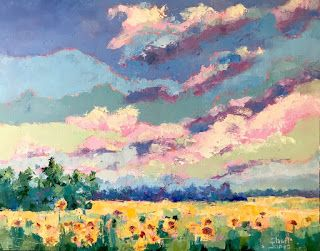 Contemporary Floral and Landscape Palette Knife Oil Painting by Sheri Jones