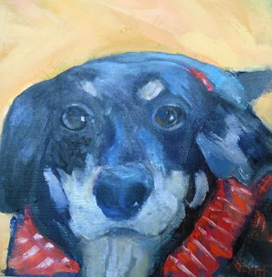Gone to the Dogs, Dog Paintings, Small Oil Painting, Daily Painting