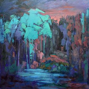 "Impressionist Landscape, Mountain Landscape, Trees, Fine Art Oil Painting ""Forest Night"" by Colorado Contemporary Fine Artist Jody Ahrens"