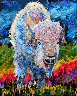 "Bison Painting, Buffalo, Contemporary Wildlife, Palette Knife Oil Painting ""Sacred Bison"" by Texas Artist Debra Hurd"