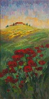 """New """"Pop of Color"""" Palette Knife Poppy Painting by Niki Gulley"""