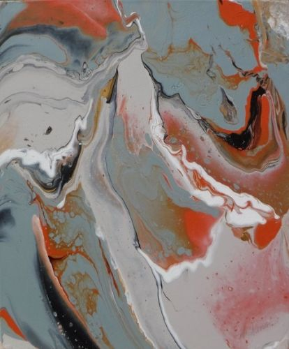 """Contemporary Abstract Painting, Fluid Art """"The Calling II"""" by Georgia Artist Pat Warren"""