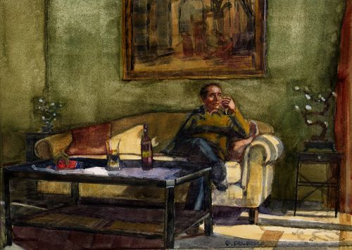 Watercolor -Wine at Mandola Rosa - and Gift Ideas for Artists