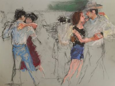 Two-Step Scribble - charcoal and oil pastel figurative sk