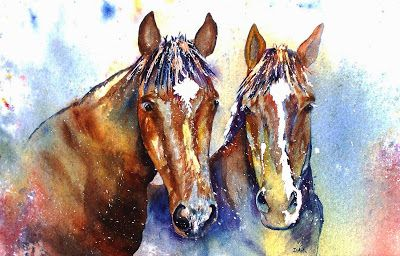 """""""Sisters"""", Original Watercolor Painting by Colorado Artist, Donna L. Martin"""