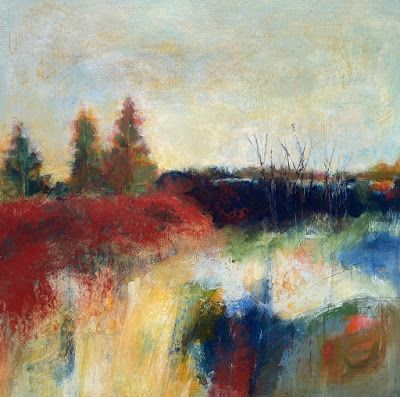 """Contemporary Landscape Art, Abstract Painting, Modern Art """"THE END OF THE ROAD"""" by Portland Contemporary Artist Liz Thoresen"""