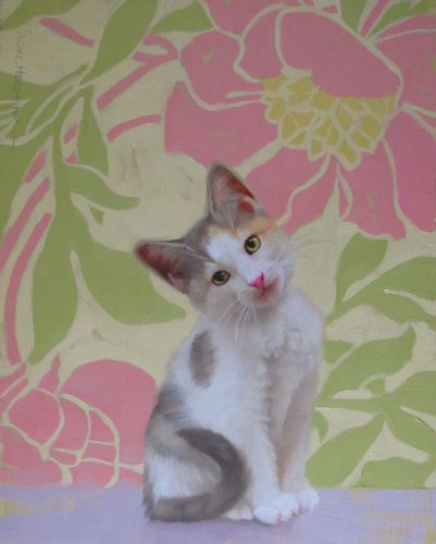 Kitten Considers, painting of diluted calico kitten