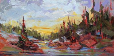 """Impressionist Landscape,Trees, Fine Art Oil Painting """"Sunset Reflection"""" by Colorado Contemporary Fine Artist Jody Ahrens"""