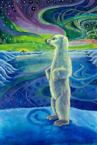 """Native American Folklore Art Native American Art,Wildlife Bear Painting """"THE LEGEND OF AURORA BOREALIS"""" by Nancee Jean Busse, Painter of the American West"""