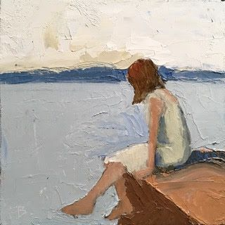 299 Quiet Morning, painting woman sitting on pier thinking, pensive,Fred Bell