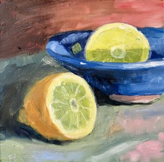 312 Lemon, Lemon, Still life painting of a cut lemon and a blue bowl by Fred Bell