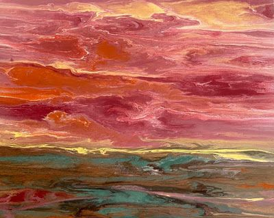 """Abstract Landscape, Sunset Painting, Contemporary Landscape """"Harmonious Reflections"""" by International Contemporary Artist Kimberly Conrad"""