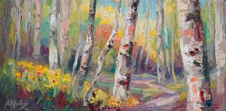 New Textured Aspen Painting by Contemporary Impressionist Niki Gulley