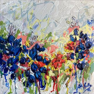 "New ""Melting Blue"" Bluebonnet Painting by Texas Artist Niki Gulley"