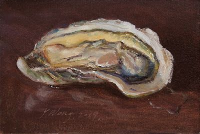 Oyster small daily painting a day still life contemporary realism