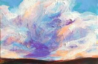 "PURPLE MOVEMENT - 4"" x 6"" acrylic sky by Susan Roden"