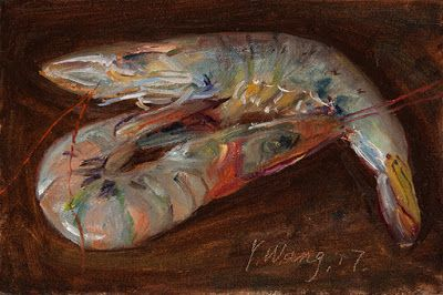 2 shrimps small original still life oil painting daily painting a day