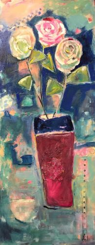 """Expressionist Floral Still Life Fine Art Painting """"3'S A PARTY!"""" by Oklahoma Artist Nancy Junkin"""