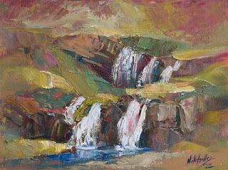 New Waterfall Palette Knife Painting from Iceland by Niki Gulley