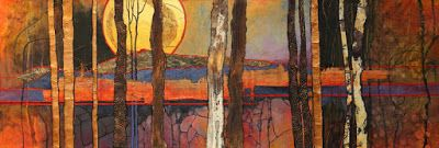 "Mixed Media Collage Landscape Painting, ""Harvest Moon"" © Carol Nelson Fine Art"