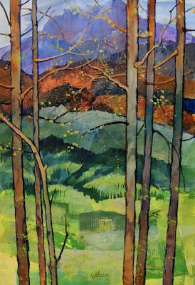 """Landscape Aspen Tree Fine Art Print """"Spring in the Rockies"""" by Colorado Mixed Media Abstract Artist Carol Nelson"""