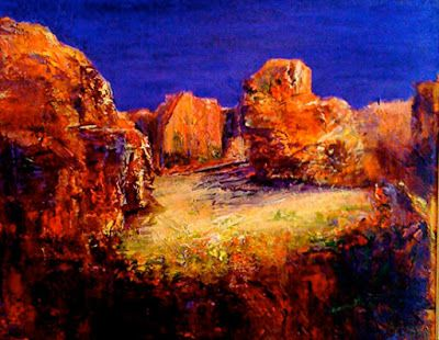 "Mixed Media Landscape Painting ""Secret Places"" by California Artist Cecelia Catherine Rappaport"