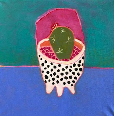"Contemporary Expressionist Still Life Art,Bold Expressive Painting ""Polka Dot Cactus"" by Santa Fe Artist Annie O'Brien Gonzales"