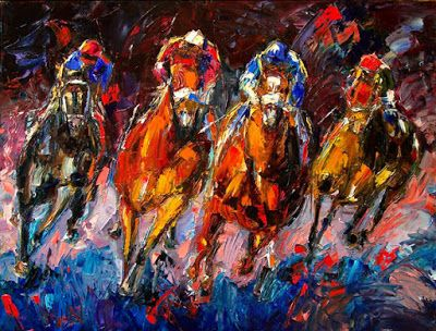 "Churchill Downs, Horse Race Art , Jockey, Fine Art Print ""Adrenalin"