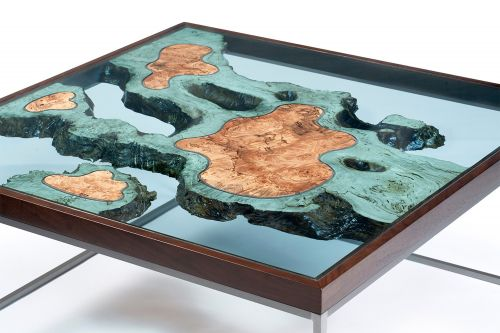 Islands of Wood Float Amidst Sea of Glass in New 'Archipelago' Furniture by Greg Klassen